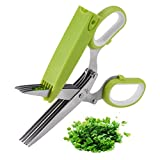 Herb Scissors, X-Chef Multipurpose 5 Blade Kitchen...