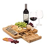 Dynamic Gear Bamboo Cheese Board Set with Cutlery...