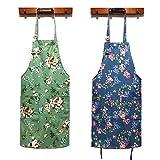 HOMKIN Women Kitchen Apron-2 Pack, Cotton Canvas...